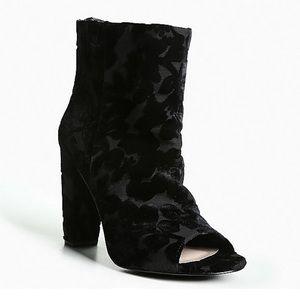 Torrid Black Floral Velvet Booties